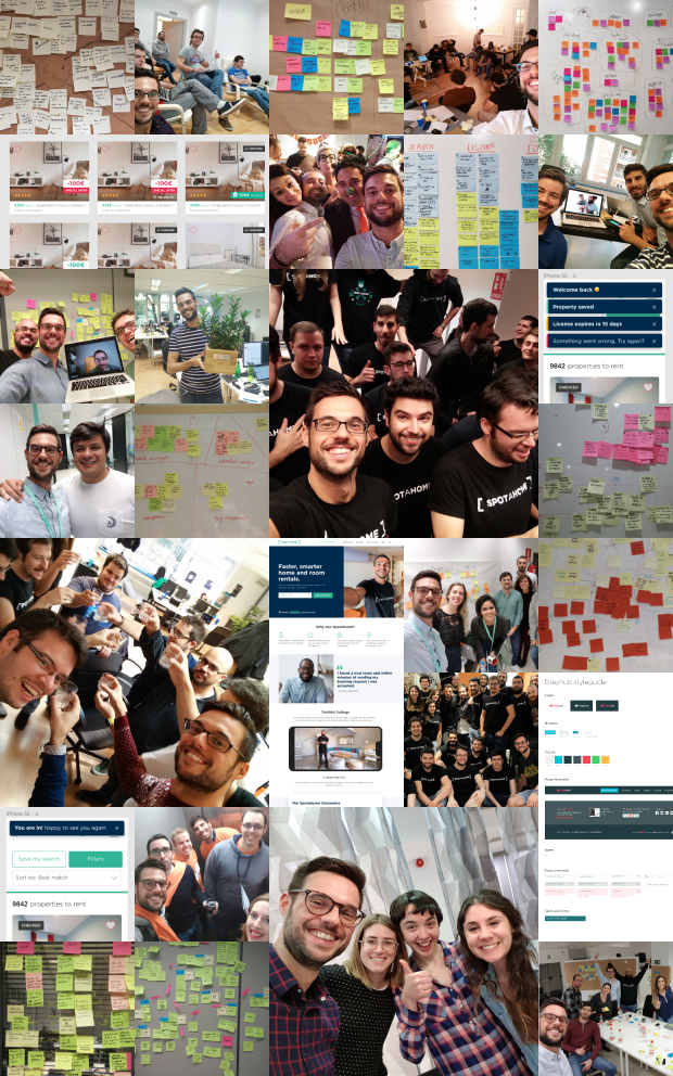 A collage of photos of tons of post-its, UI designs and great friends I've made at Spotahome